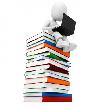3d man sitiing on a pile of books
