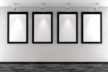 3d blank frames on a white brick wall