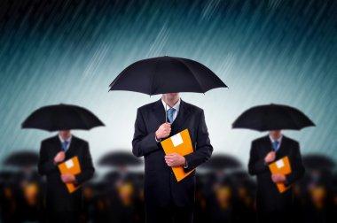 Businessmen with umbrellas in heavy rain. stock vector