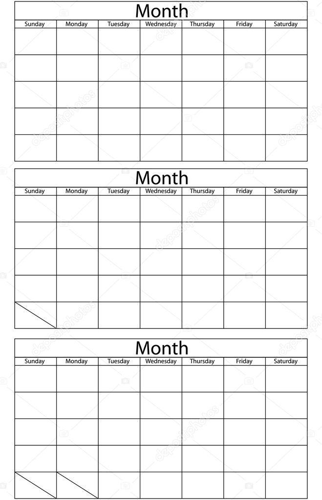Blank Calendar Template  Stock Vector  Apotterdd