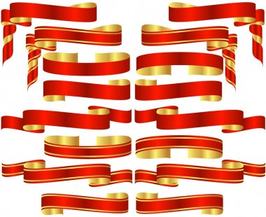 Set of Red Banner Scrolls with Golden Accents