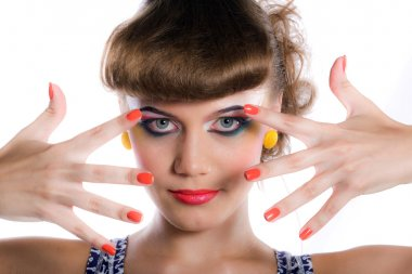 Girl with make-up and manicure