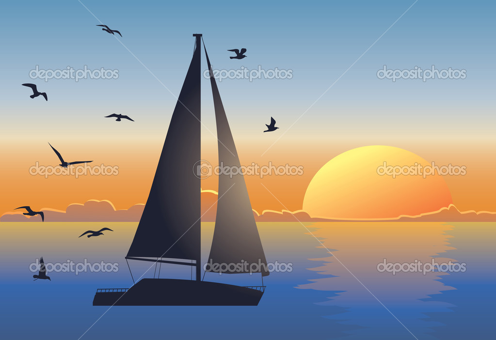 Sunset seascape with sailboat