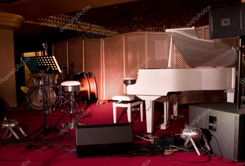 Musical instruments in restaurant stage