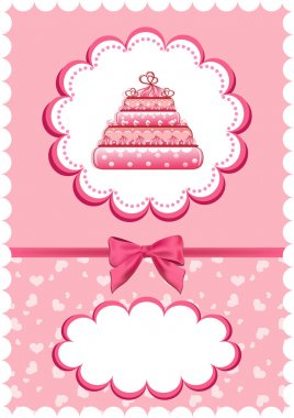 Cheerful babies card with cake.