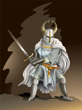 Heavy armored Crusader, Knight of Order, with a sword in his hands, vector illustration with mesh gradient stock vector