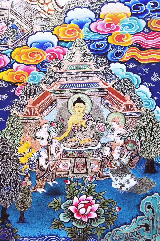 チベットの仏教絵画作品 — スト...