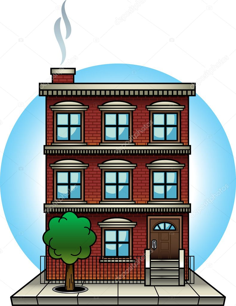 Elegant Vector Illustration Of A Brick Apartment Building. Vector File Is  Well Organized And Labelled. All Objects And Elements Can Be Easily Changed.