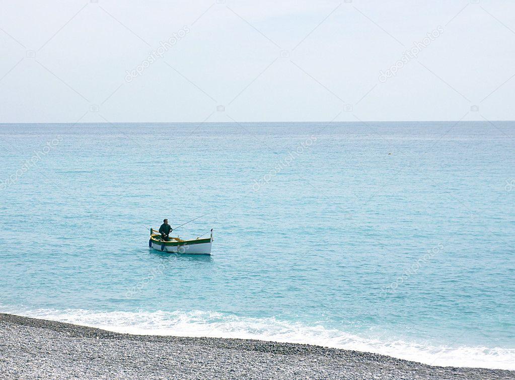 Fishing man at Nice, France