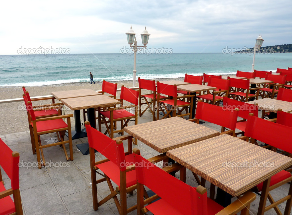Red restaurant terrace