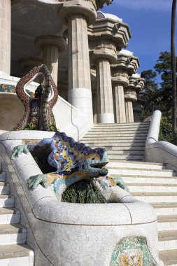 Park Guell, dragon fountain at the main entrance.Barcelona,Spain.