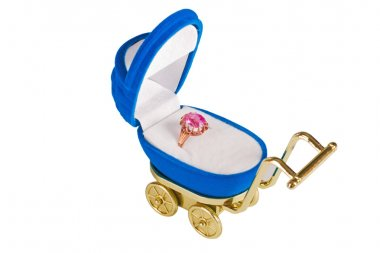 Open blue baby stroller