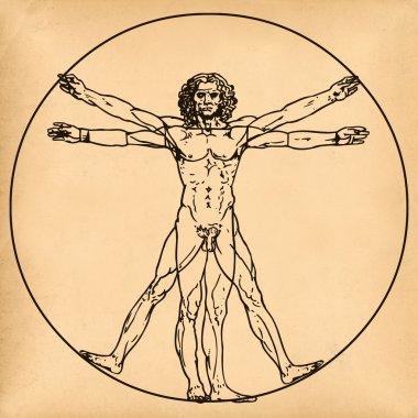 Vitruvian man on old paper background