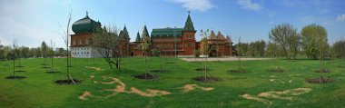 Wooden palace in Kolomenskoye panorama
