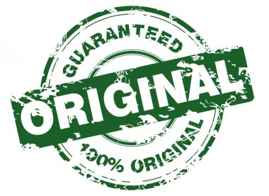 Green grunge stamp with 100% original guaranteed clip art vector