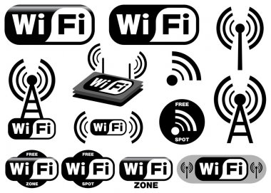 Collection of wi-fi symbols. This image is a vector illustration and can be scaled to any size without loss of resolution. stock vector