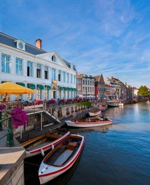 Ghent (Gent), Belgium. View of boats