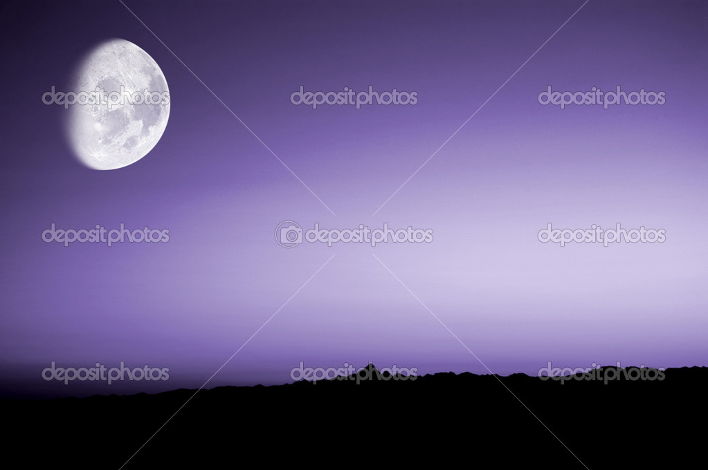 Purple sunset with moon