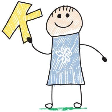 Doodle child holding letter K