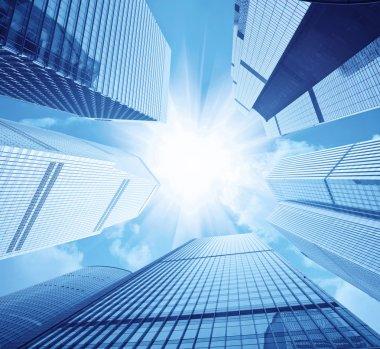 Modern skyscrapers and sun glare