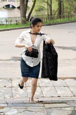 Business woman rushing