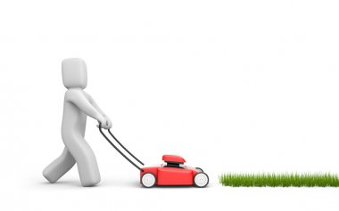 Person mow a grass