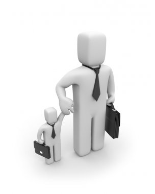 Big business is helping small businesses or father and son