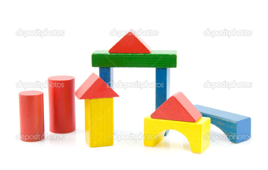 Colored Wood Blocks ~ Colored wooden building blocks — stock photo sannie