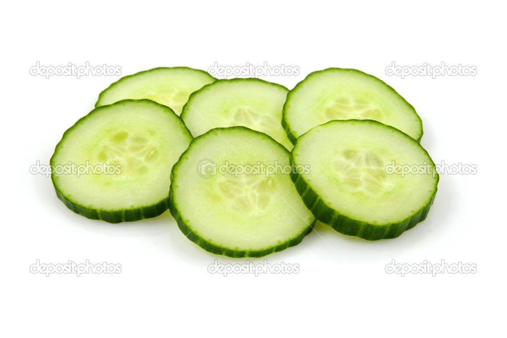 Six slices of fresh cucumber