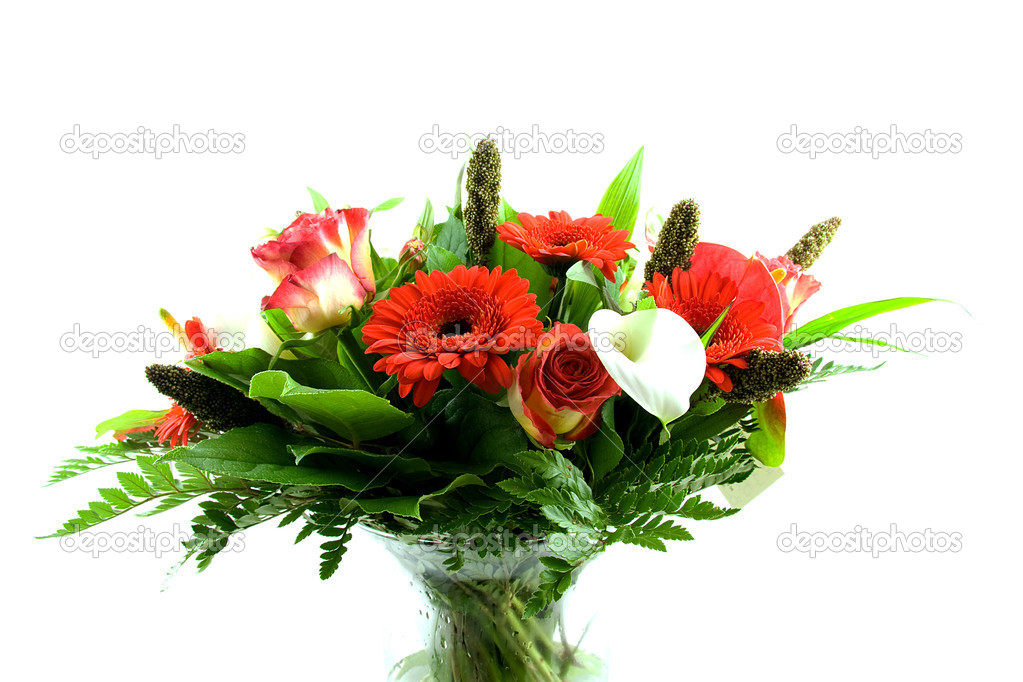 Bouquet of flowers in glass vas