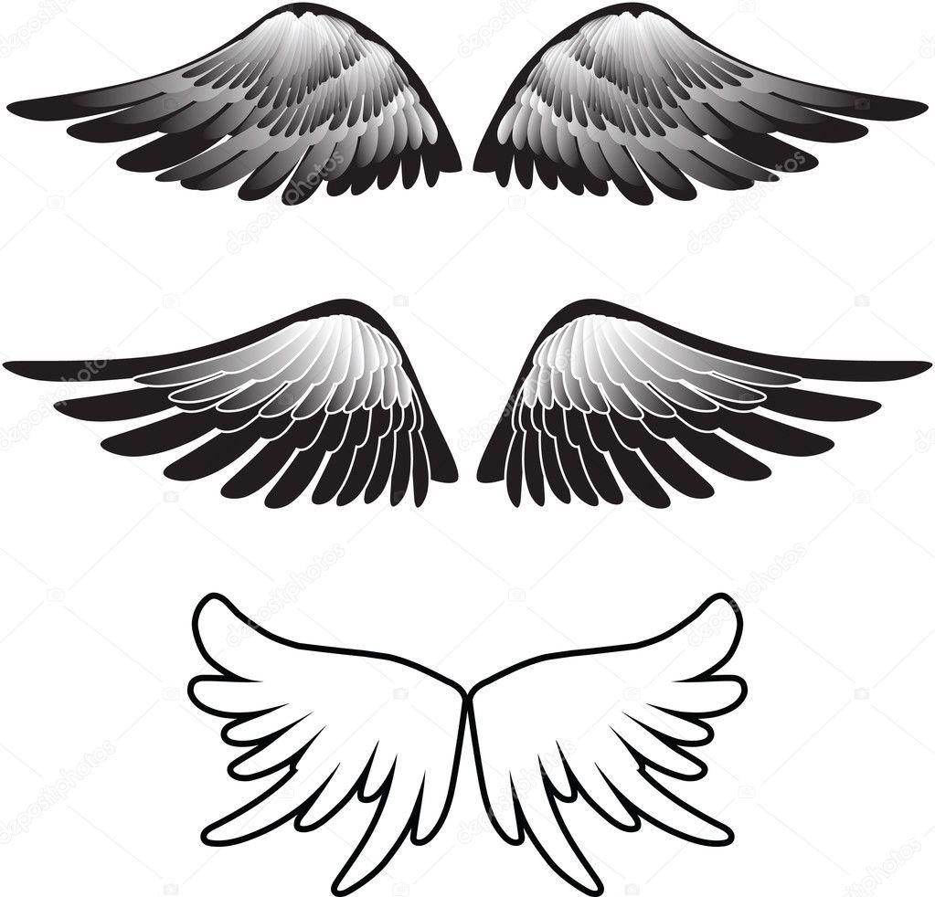 Tattoo Vleugels Silhouet Vector Stockvector Photos 3257364