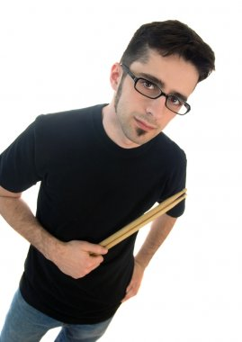 Young male drummer with sticks
