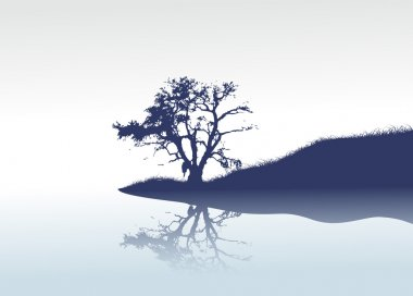 This is a vector lonely tree and mirror river clip art vector