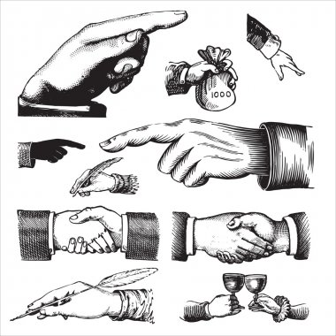 Antique hands set (vector)