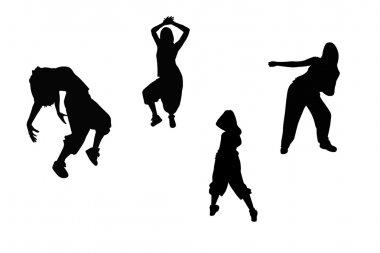 Hip hop dance silhouettes