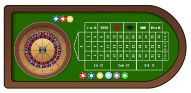 Roulette game table with chips