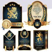 zlatem orámované štítky