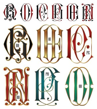 Set of interlocking letters