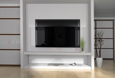Interior of a modern white drawing tv room stock vector