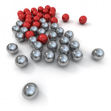 Marbles in red and metal