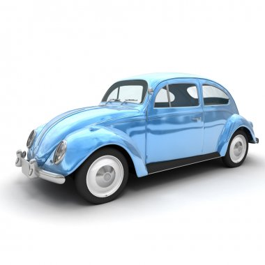Shinny blue European vintage car