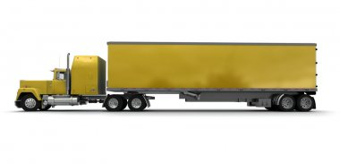 Lateral view of a big yellow trailer truck
