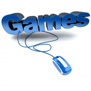 Blue and white 3D illustration of the word games connected to a computer mouse stock vector