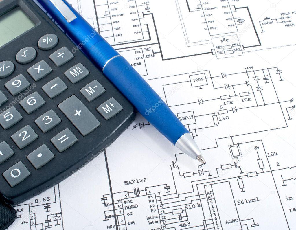 calculator and pen on electrical diagram stock photo vydrin 2919519 rh depositphotos com