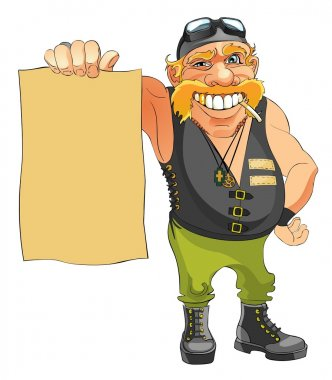 Biker holds in hand a blank sheet of pap