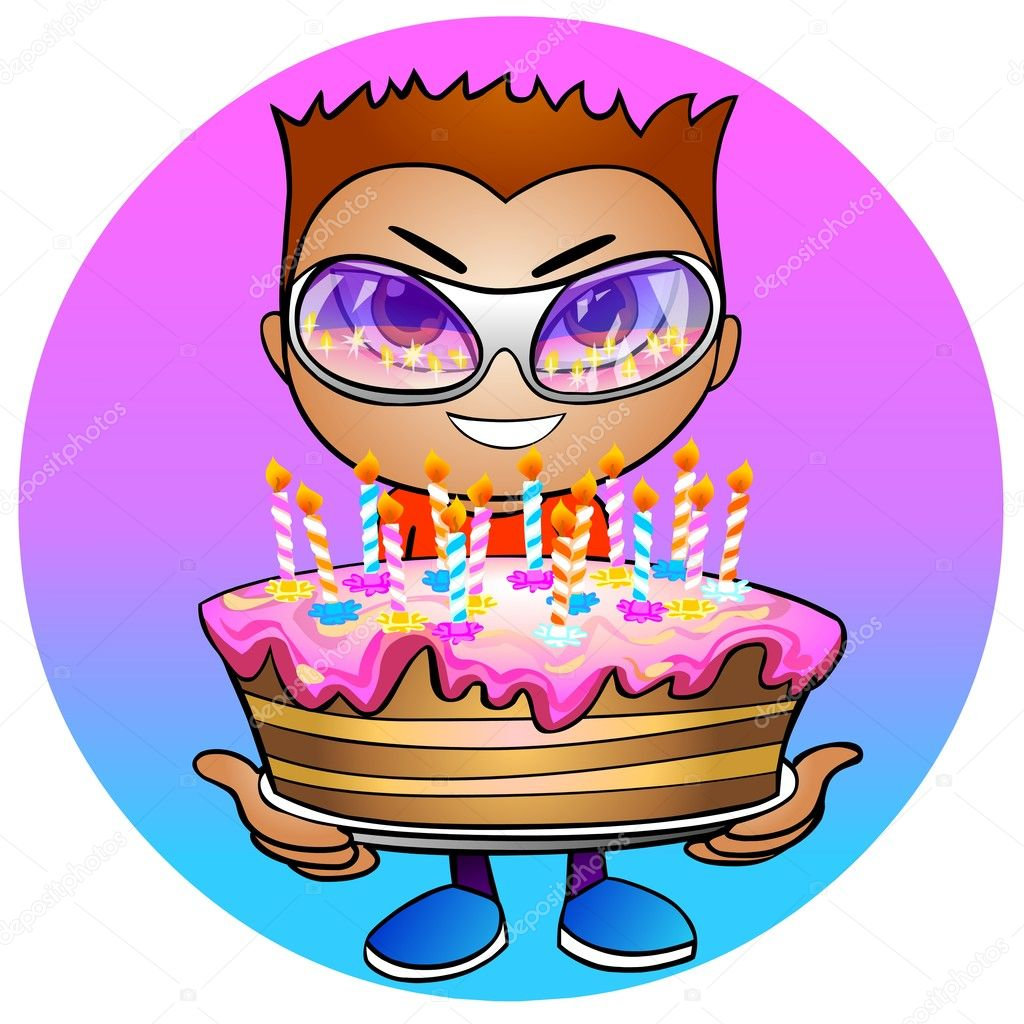 Boy holds in hands a birthday cake Stock Photo Regissercom