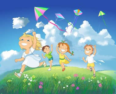 Happy children flying kites.