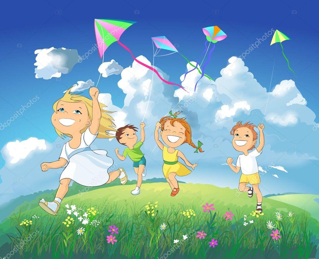 Happy children flying kites.