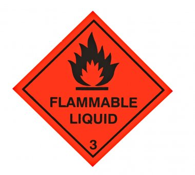 A red diamond shaped sign warning