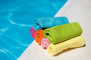 Towels near the swimming pool